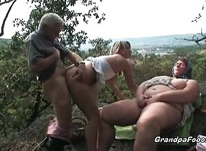 Babe,blonde,blowjob,brunette,granny,hardcore,outdoor,threesome