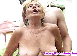 Big boobs,blonde,european,granny,outdoor
