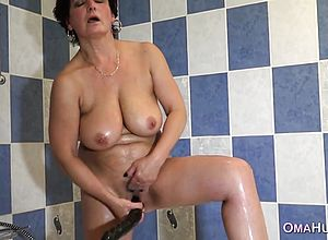 Granny,masturbation,shower,solo,toys