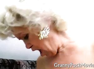 Blowjob,granny,stockings,threesome
